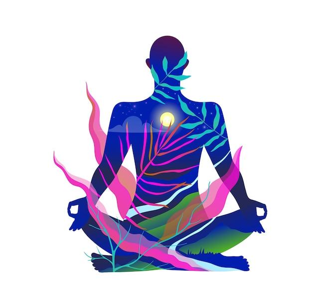 Человеческое тело сидит в позе лотоса, медитируя на природе Premium векторы