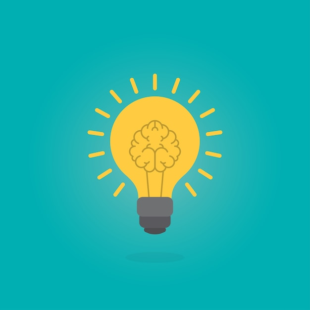 Human brain as light bulb lamp Premium Vector