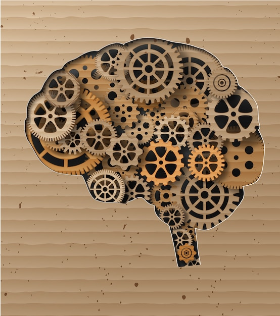 Human brain build out of cogs and gears Premium Vector