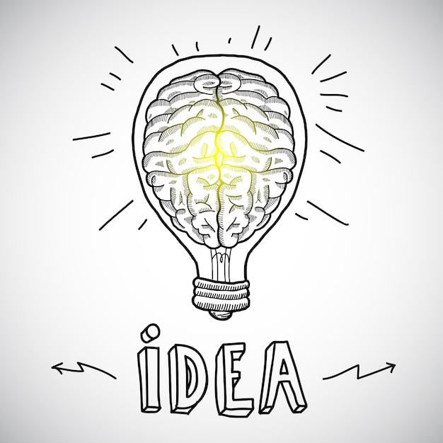 Human brain in lightbulb sketch Premium Vector
