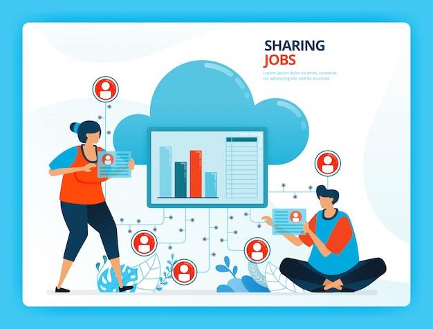 Человеческая мультипликационная иллюстрация для разделения рабочих мест и облачного сетевого сервиса. Premium векторы