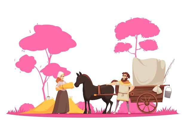 Caratteri umani e cavallo rurale antico del trasporto al suolo con il carretto sul fumetto del fondo degli alberi Vettore gratuito