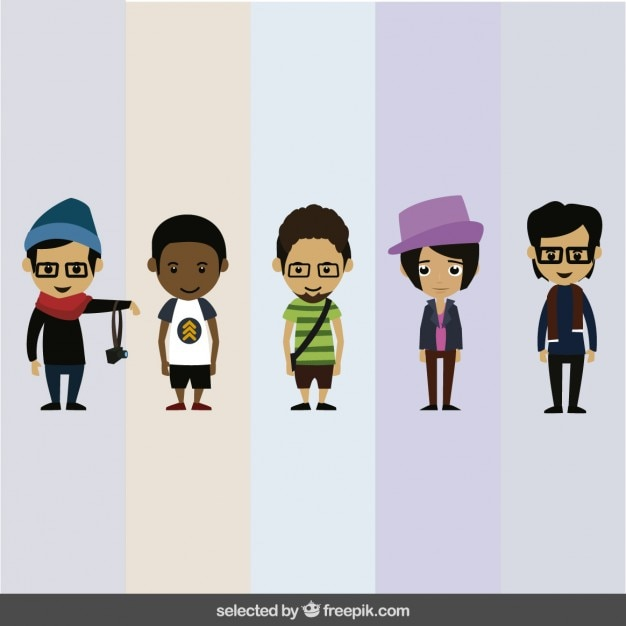 Cartoon Characters As Humans : Human characters collection vector free download