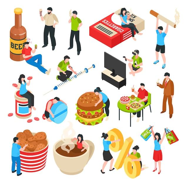 Набор человеческих персонажей с вредными привычками, алкоголь и наркотики, шопоголизм, фаст-фуд, изометрические иконки Бесплатные векторы