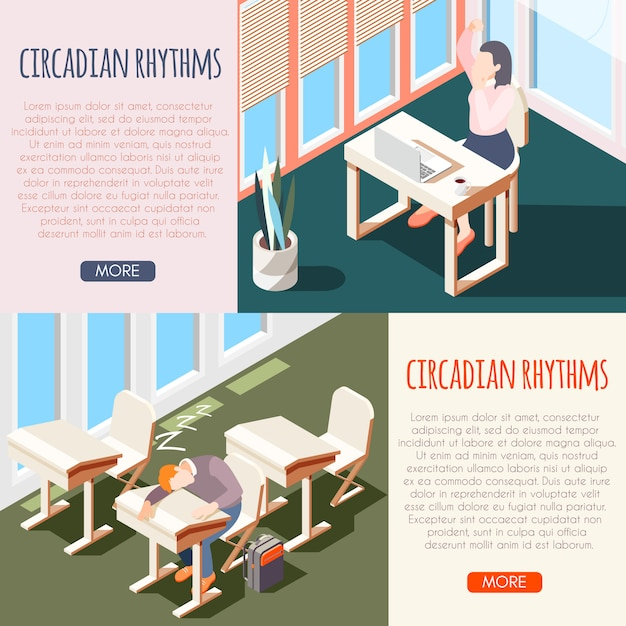 Human circadian rhythms isometric banner set with sleeping peoples and buttons more  illustration Free Vector