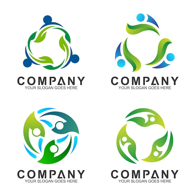 Human combination with leaf logo design for health Premium Vector