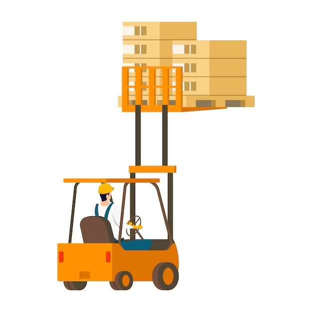 木箱を持ち上げる人間駆動のフォークリフト車 無料ベクター