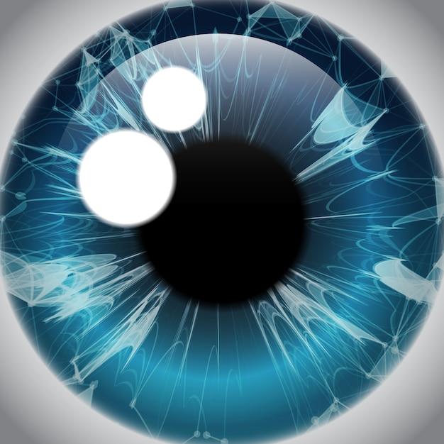 Human eye iris, realistic eyeball icon Premium Vector