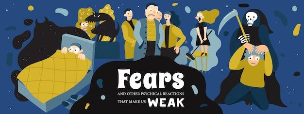 悪夢と恐怖症のシンボルのバナーイラストと人間の恐怖のポスター 無料ベクター