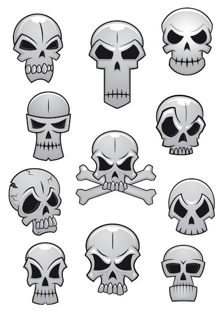 Human halloween skulls set Premium Vector