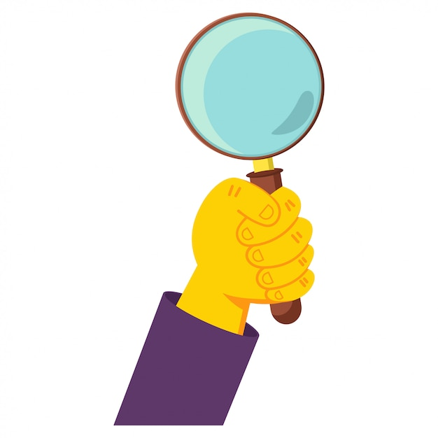 Human hand holding magnifying glass cartoon illustration isolated on a white background. Premium Vector