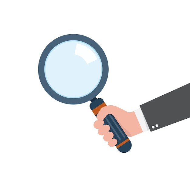 Human hand holding magnifying glass.  concept of analysis, exploration or zoom Premium Vector