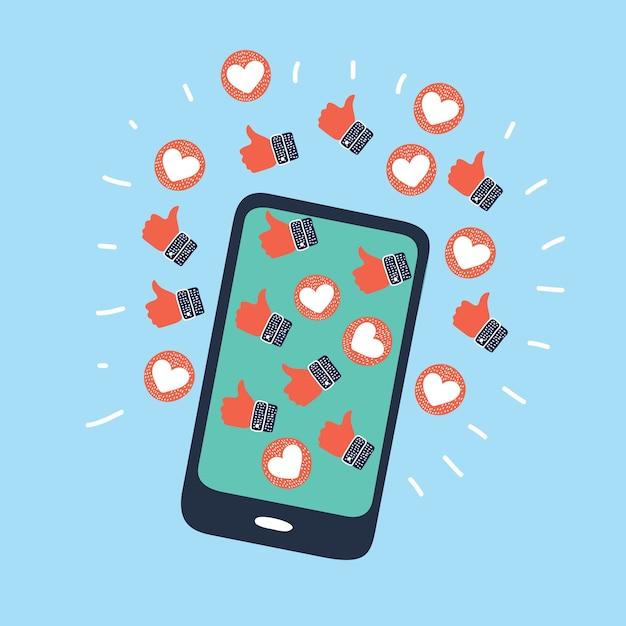 Человеческая рука держит мобильный телефон со смайликами обратной связи в социальных сетях Premium векторы