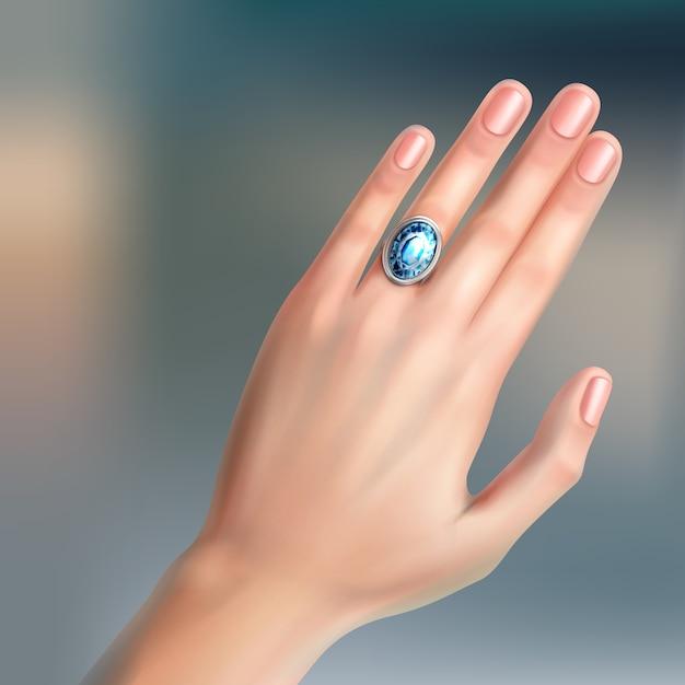 Mano umana con anello in argento brillante al dito Vettore gratuito