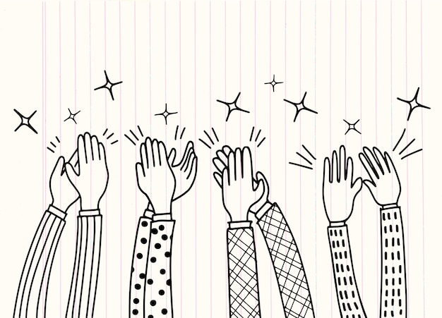 Human hands clapping ovation Premium Vector