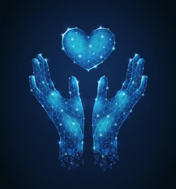심장 발광 다각형 와이어 프레임 미래 컴포지션 추상적 인 벡터 일러스트 레이 션을 지키고 인간의 손에 무료 벡터