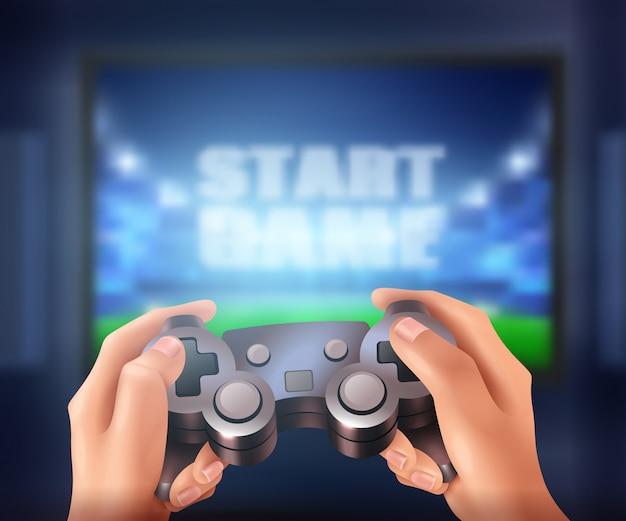 Человеческие руки держат контроллер и начинают видеоигру на большом экране реалистично Бесплатные векторы