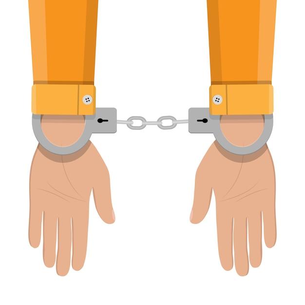 手錠をかけられて人間の手 Premiumベクター
