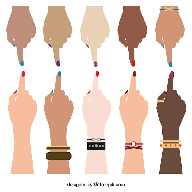 Human hands of different races Free Vector
