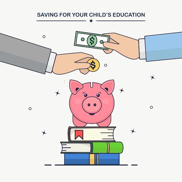 人間の手は金貨、現金を貯金箱に入れます。教育投資の概念。勉強のための本とお金の節約のスタック Premiumベクター