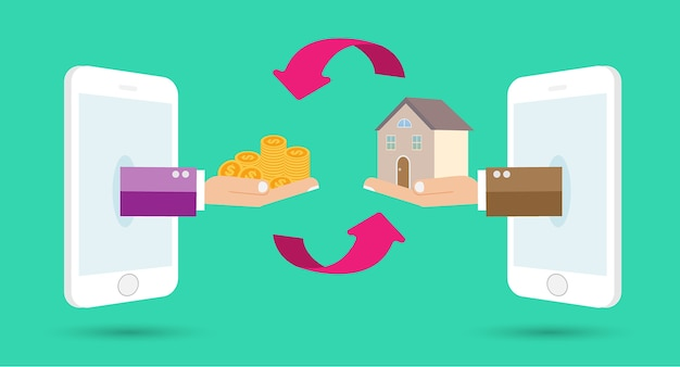 Human hands with dollar money and building home on mobile phone. Premium Vector