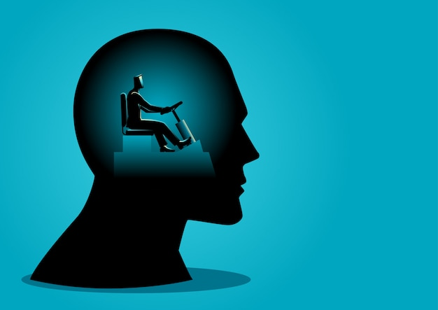 Human head being controlled by a businessman Premium Vector