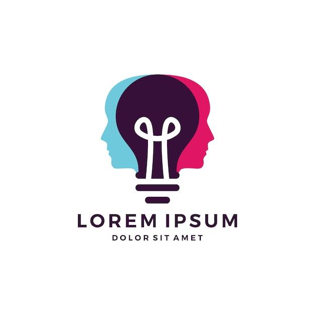 Human head lamp logo | Premium Vector