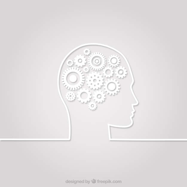 Human head silhouette with gears Free Vector