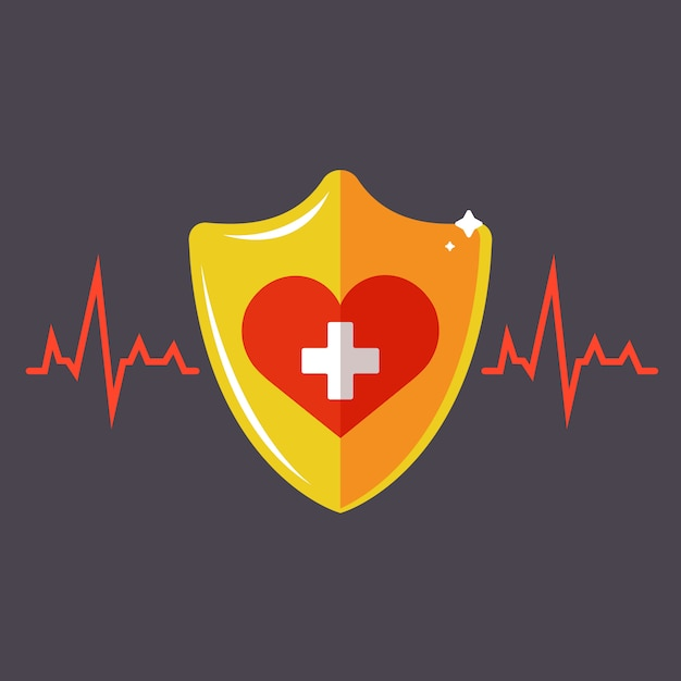Human health insurance. golden shield with a heart.  illustration. Premium Vector