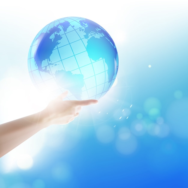 Human holding globe on his hands over blue sky. Free Vector
