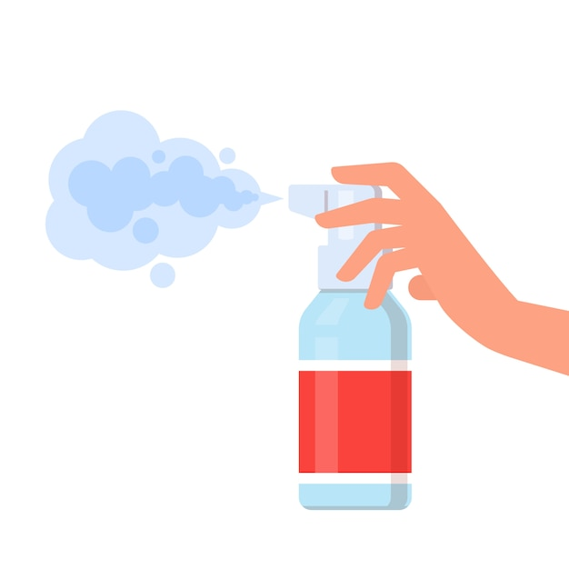 Human holds bottle of antiseptic spray Premium Vector