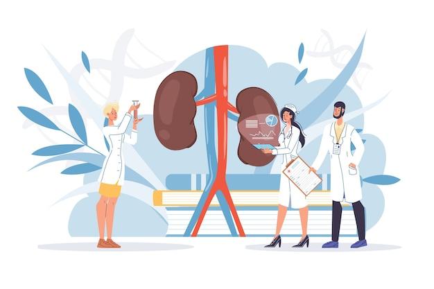 Human kidneys inspection inner organ disease treatment Premium Vector