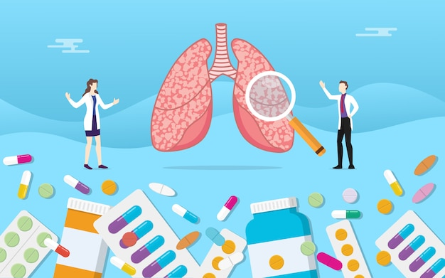 Human lungs medicine health with pills drug capsule treatment Premium Vector