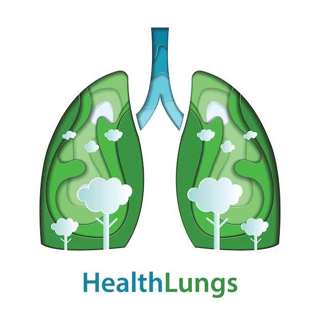 Human lungs paper cut of natural concept Premium Vector