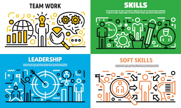Human managing skills banner set, outline style Premium Vector