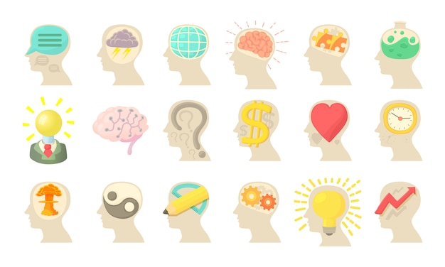 Human mind icon set Premium Vector
