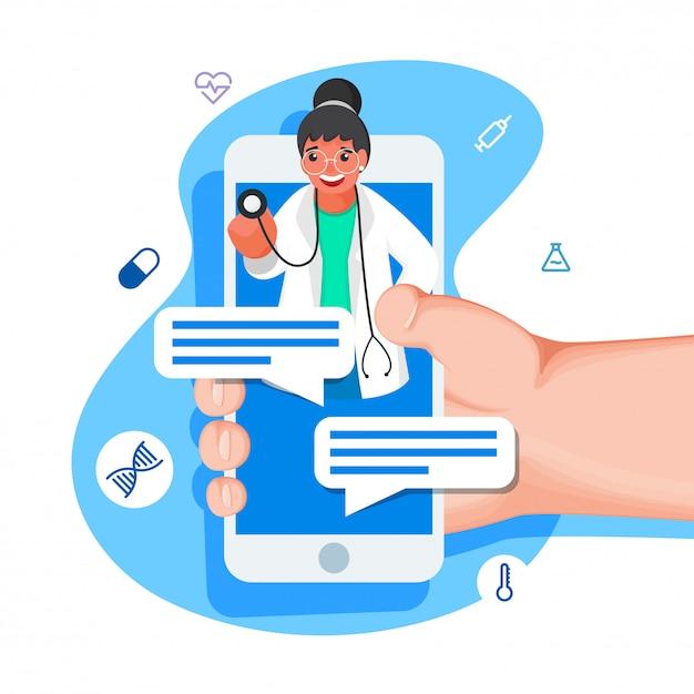 青と白の背景に医療要素を持つドクターガールからスマートフォンで人間のオンラインチャット。 Premiumベクター