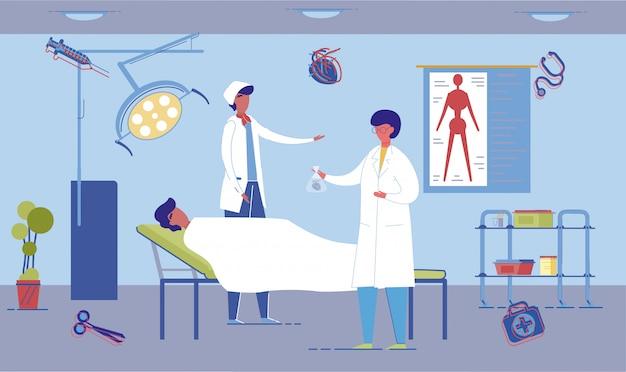 Human organs transplantation and donation scene. Premium Vector