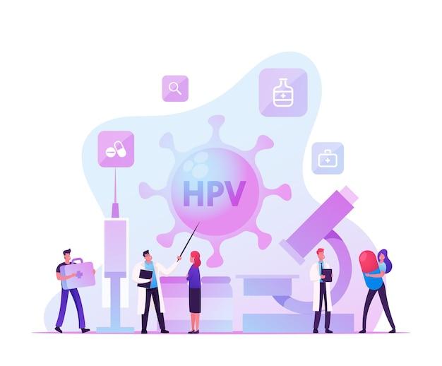 Human papillomavirus, hpv virus diagnosis checkup and early diagnostics concept. cartoon flat illus