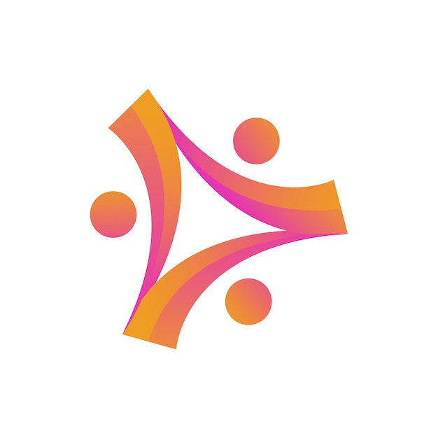 Human people charity community unity logo Premium Vector