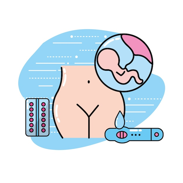 Human pregnancy with medicine treatment to care the body Premium Vector