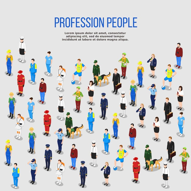 Human professions isometric background Free Vector