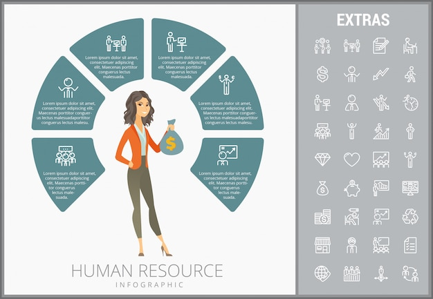 Human resource infographic template and icons set Premium Vector