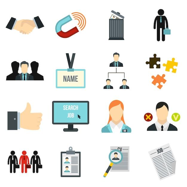 Human resource management icons set Premium Vector