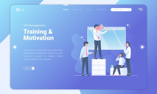 Human resource training and motivation landing page template Premium Vector