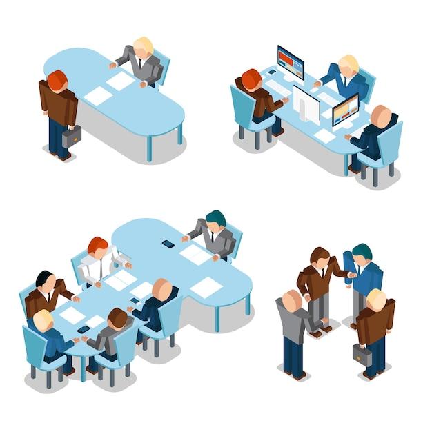 인적 자원 및 사업가. 회의 및 팀워크, 그룹, 조직 무료 벡터