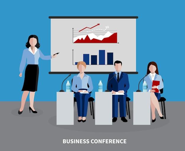 4人がビジネスカンファレンスフラットに参加している人事の背景 無料ベクター