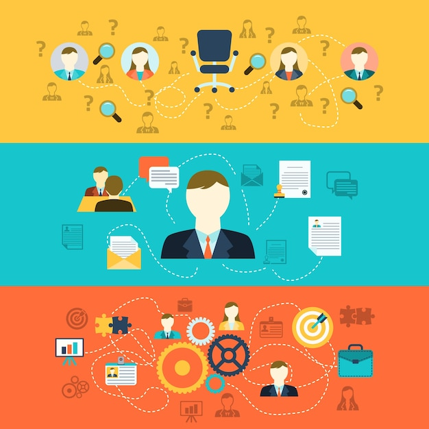 Human resources banners Free Vector