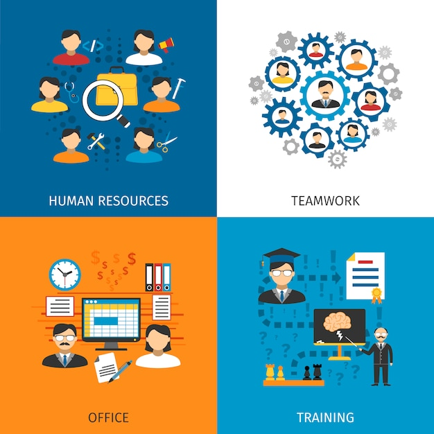 Human resources concept 4 flat icons Free Vector