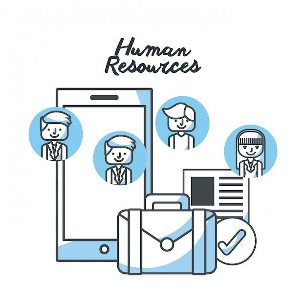 Human resources flat line icons Premium Vector